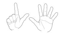 Zwei Hände zeigen die Zahl 7