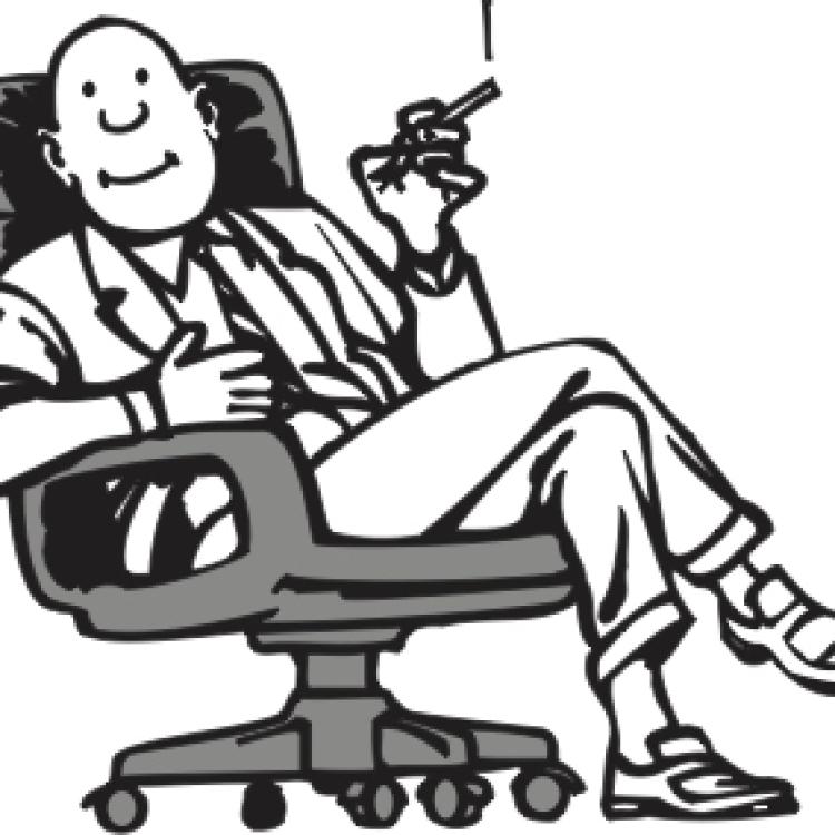 Cartoon: Mann im Bürostuhl mit Zigarre