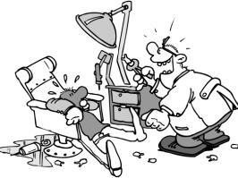 Cartoon: Patient beim Zahnarzt